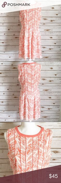 Antonio Melani Lace Fitted Dress Antonio Melani Lace Fitted Dress  Beautiful salmon color background with a white lace over lay. Great used condition!   Measurements: bust measures 19in and the length 37in. Additional measurements available upon request. ANTONIO MELANI Dresses