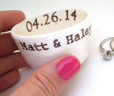 CUSTOM RING DISH personalized date names initials by ElyciaCamille