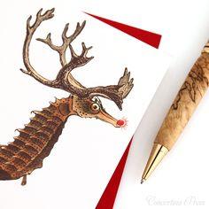 Nautical Christmas Card Seahorse Reindeer - I hope Santa picks me. Etsy.