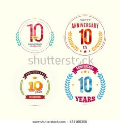 10 Years Anniversary Set with Low Poly Design and Laurel Ornaments