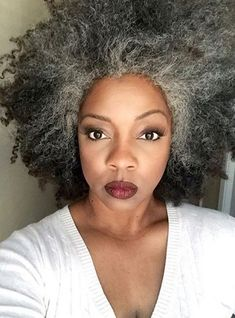Teased Out Natural Hair - Stylish Gray Long Bobs To Inspire Your Next Hair Appointment - Photos Grey Curly Hair, Short Grey Hair, Silver Grey Hair, Medium Hair Cuts, Medium Hair Styles, Curly Hair Styles, Natural Hair Cuts, Natural Hair Styles For Black Women, Grey Hair Transformation
