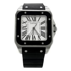 0f256b881 Cartier Santos 100 XL 2656 Stainless Steel 38mm Rubber Men Watch W20121U2  PRE-OWNED WATCHES, Cartier