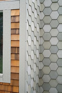 The Portland Cement Company makes these tiles out of a proprietary concrete, which is cast in a wedge-shaped seven-inch-hexagon mold and left to dry overnight, then for a few weeks on a baking sheet. Hex Tile, Hexagon Tiles, Hexagon Pattern, Tiling, Wall Tiles, Cement Walls, Concrete Tiles, Pattern Concrete, Beton Design