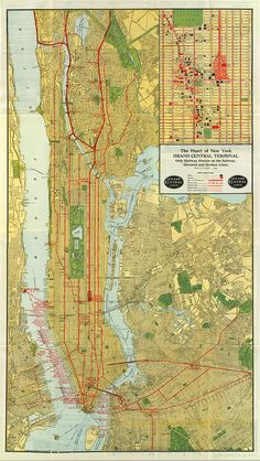 Map of New York Central Line 1918. The Heart of Grand Central Terminal. Only Railway Station on Subway, Elevated and Surface Lines. Map.