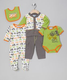 Take a look at this Lime & Orange Trouble Layette Set by Duck Duck Goose on #zulily today!