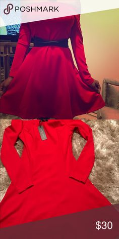 Romeo & Juliet Gorgeous classy red off the shoulder dress/ Romeo& Juliet brand / knee length/ ***belt not included**** Romeo & Juliet Couture Dresses Long Sleeve