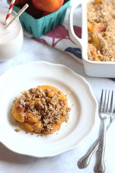 Satisfy Your Sweet Tooth With Quick and Lightened-Up Peach Crisp
