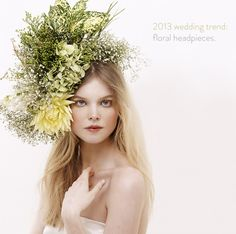 """2013 wedding trend: floral headpieces """"It was made on a thick gauge wire and pinned to the hair."""""""