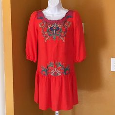 """CHARMING CHARLIE CORAL DRESS Very Pretty!  Coral dress with scalloped detail neckline. Bust 32.5"""". Shoulder to hem 31"""". Last pic true color. -No trades. Charming Charlie Dresses"""
