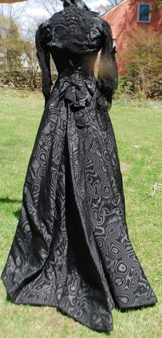 Victorian 19th C Watered Silk Gown w Paris Label Petersham | eBay (after much discussion, we think this dress began as an 1890s piece and was transformed around 1900 to match the new shapes and styles)