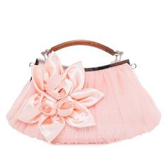Elegant Satin/Silk With Flower/Ruffles Clutches/Top Handle Bags (012025164)