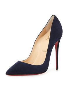 So Kate Suede 120mm Red Sole Pump, Navy by Christian Louboutin at Neiman Marcus.