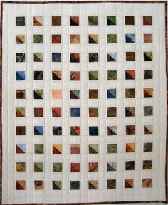 Windows Modern Quilted Wall Hanging  Batik Prints by SallyManke,
