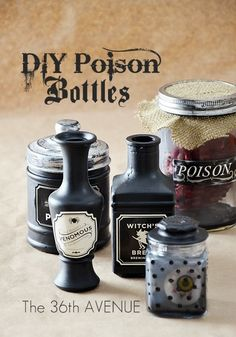 You can use any recycled jars for these poison bottles – and  will show you how to make them creepy.