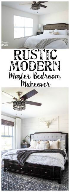 Rustic Modern Master Bedroom Reveal + Sources   blesserhouse.com - A plain white, boring builder grade space gets a rustic modern master bedroom makeover using DIY home improvement tricks and decor shopping on a budget.