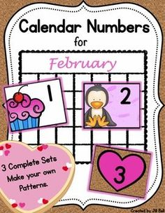 This product contains 3 complete sets of printable calendar numbers appropriate for the month of February.