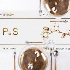 BIEŻNIK Z IMIONAMI Pary Młodej Kwiaty Bawełny 42cmx5m Place Cards, Place Card Holders, Alcohol
