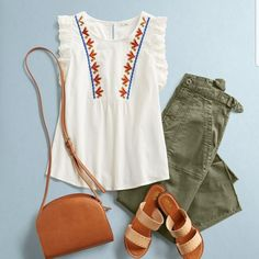 Love this kind of top. Perfect for summer. That olive cargo is growing on me. And I think I would love to try it on as well. Send it over please.