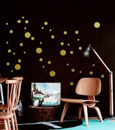 Luxury Gold Konfetti Dots Wandsticker Interior Design