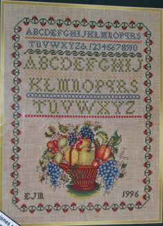 Elsa Williams Williamsburg Theorem Sampler Cross Stitch Kit Counted Fruit Basket #ElsaWilliams