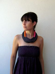 Jersey necklace black, orange and hot pink.  Can be wrapped once or twice around neck.