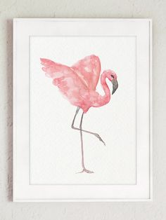 Flamingo Painting, Flamingo Art, Watercolor Print, Watercolor Paintings, Canvas Wall Decor, Baby Prints, Mosaic Art, Nursery Art, Clipart