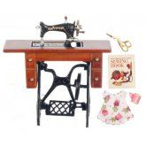 Deluxe Walnut Sewing Machine w/ Accessories