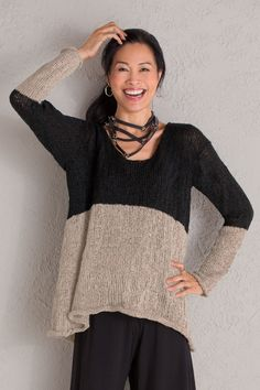 Abstract Pullover by Amy Brill Sweaters. In this versatile, boxy sweater, bold color blocking updates a classic pairing of black and taupe with modern artistry. Overview: Long sleeves Below hip to tunic length Scoop neckline Rolled hems Artist-made in the U.S.A. Fabric & Care: 88% acrylic/12% polyester Machine wash gentle cold, tumble dry low Fit & Sizing: Relaxed fit: a looser drape on the body, cut for full comfort and ease One size (fits sizes 4–16) Garment measurements: Bust…