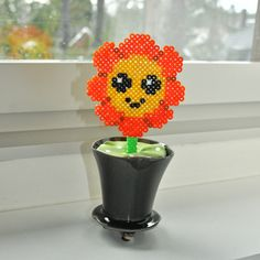 Kawaii Hama bead flower in pot. BeadBaby   Hama Bead Art