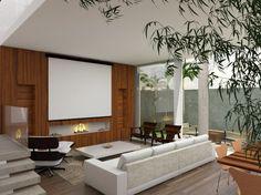 O painel de madeira ripada envolve a lareira e literalmente aquece o ambiente.