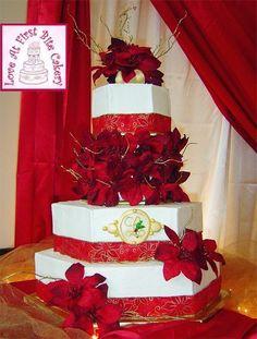 Red and gold wedding cakes | ... Red & Gold Wedding Cake — Other / Mixed Shaped Wedding Cakes  Keywords: #redandgoldweddings #jevelweddingplanning Follow Us: www.jevelweddingplanning.com  www.facebook.com/jevelweddingplanning/