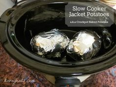 Baked jacket potatoes - takes about 7-8 hours on low. Wrap tightly in foil. Perfect for cheese and beans!
