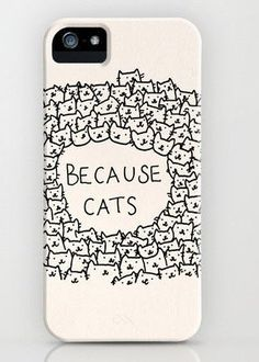 Because cats iPhone 4,4s Case plastic case- -Includes screen protector and cleaning cloth on Etsy, $8.99