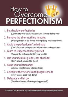 Psychology : Psychology : Psychology infographic and charts How to Overcome Perfectionism M