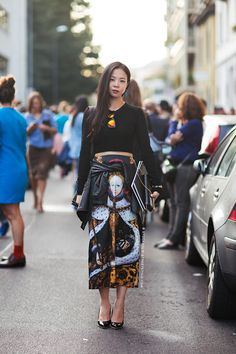 graphic skirt. Yu Lee | Stockholm Streetstyle