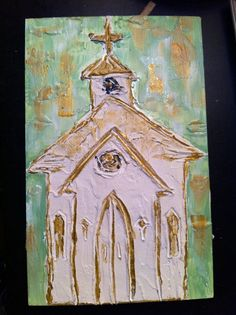 Abstract Chapel on Wood Plank by BergHome on Etsy, $30.00