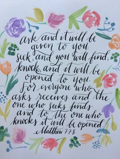 Matthew 7:7-8 print by SugarPaperStudio on Etsy