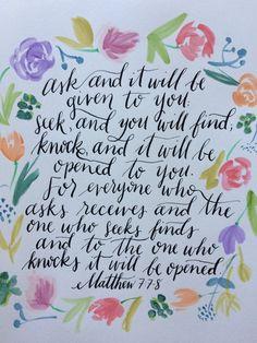 Matthew 7:7-8 print by SugarPaperStudio on Etsy