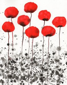 SALE - Buy 2 Get 1 FREE -- Watercolor Painting: Watercolor Flowers -- Art Print --Happy Memories -- Red Flowers -- 11x14. $35.00, via Etsy.