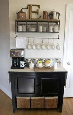 DIY Home Coffee Bar Inspiration in sitting room of kitchen... make room for the gigantic fridge/freezer I need.