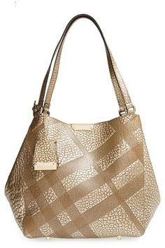 a97aac99380 Burberry  Small Cantebury  Check Embossed Metallic Leather Tote