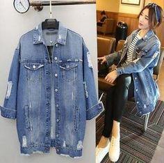 540fa1fbf30 Womens Fashion Ripped Hole Loose Blue Jean Jacket Casual Long Denim Coat  Size XY