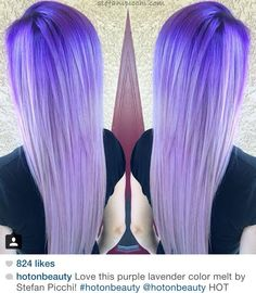 "Blue purple to pastel lavender purple ombre hair melt. By Stefani Picchi. Posted by ""hotonbeauty"" on Instagram."