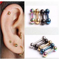 Retro 1.2*6*3/3mm Men's Stainless Steel Ball Barbell Ear Piercing Studs Earrings Black Golden Sale Fashion #Affiliate