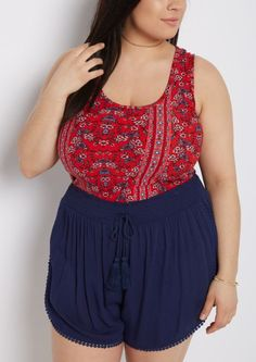 image of Plus Red Floral Folklore Soft Knit Tank Top