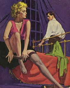 The Brass Bed by Fletcher Flora paperback cover art (Print) art by Robert Maguire at The Illustration Art Gallery Pulp Fiction Book, Fiction Novels, Ephemeral Art, Brass Bed, Comic Covers, Book Covers, Robert Mcginnis, Vintage Romance, Painting Of Girl