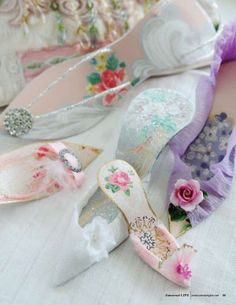 Adorable shoes made from paper and embellished with glitter, beads and other lovelies.