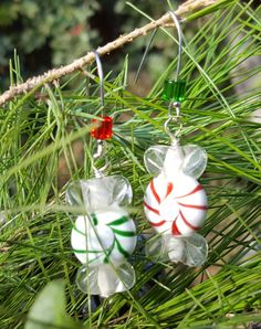 Peppermint Candy Earrings by ValeriesVanityMirror on Etsy