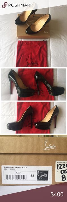 """Christian Louboutins 'Bianca' Patent Black 👠 Beautifully kept """"Bianca"""" Christian Louboutins in patent black.  Purchased at Saks Fifth and worn a few times.  No scuffs on the leather, shoes have been well manicured after every use! Christian Louboutin Shoes Heels"""