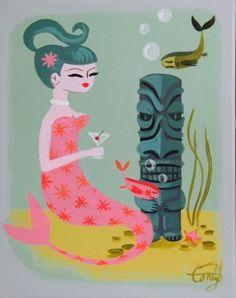 El Gato Gomez painting mermaids